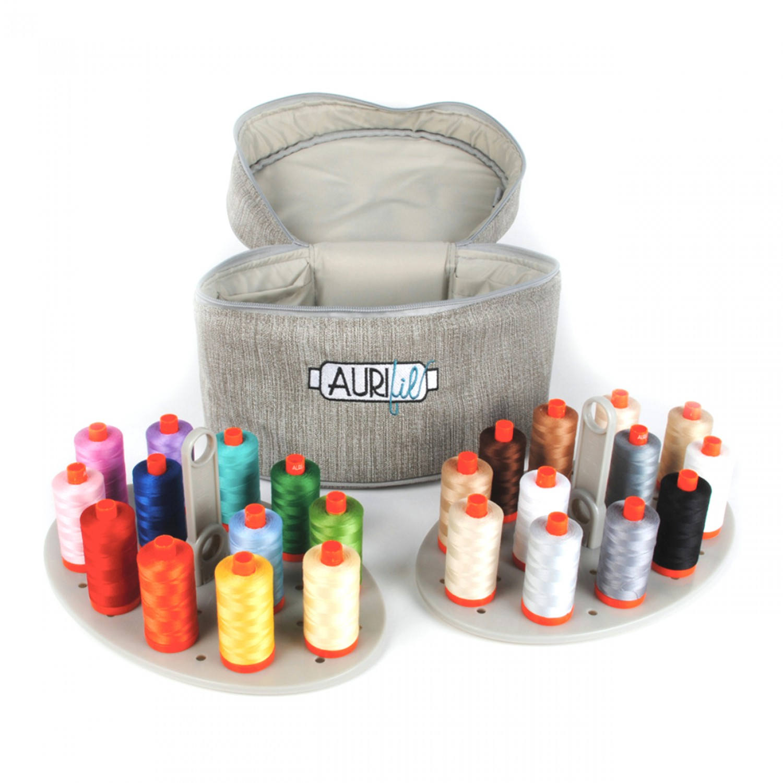 Aurifil Thread Assorted Colors Limited Edition Train Case 24 x 50wt spools 1422yds each Sewing Thread Applique Thread Quilting Thread
